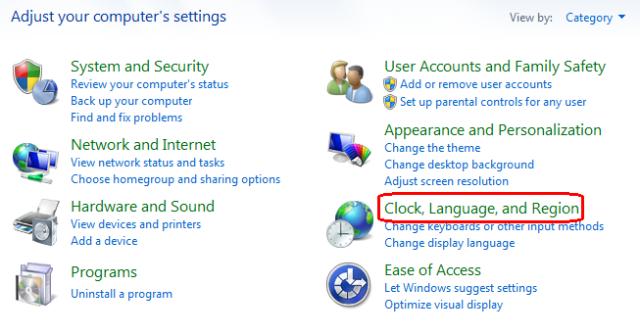reloj, idioma y región en Windows 7