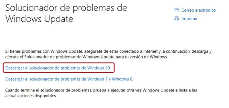 Usar el solucionador de problemas Windows Update