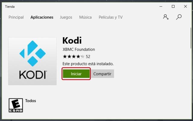 Instalar Kodi desde la tienda de Windows 10