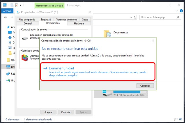 Cómo hacer un examen completo del disco duro en Windows 10