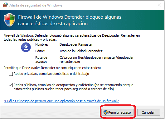 Firewall de Windows, DeezLoader Remaster