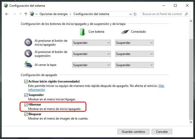 Cómo activar/desactivar hibernación en Windows 10
