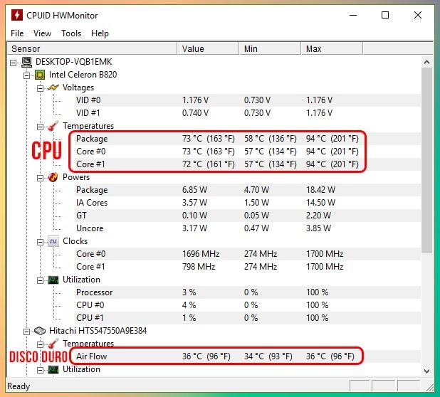Cómo ver la temperatura del CPU y disco duro