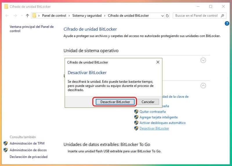 Desactivar BitLocker en una partición
