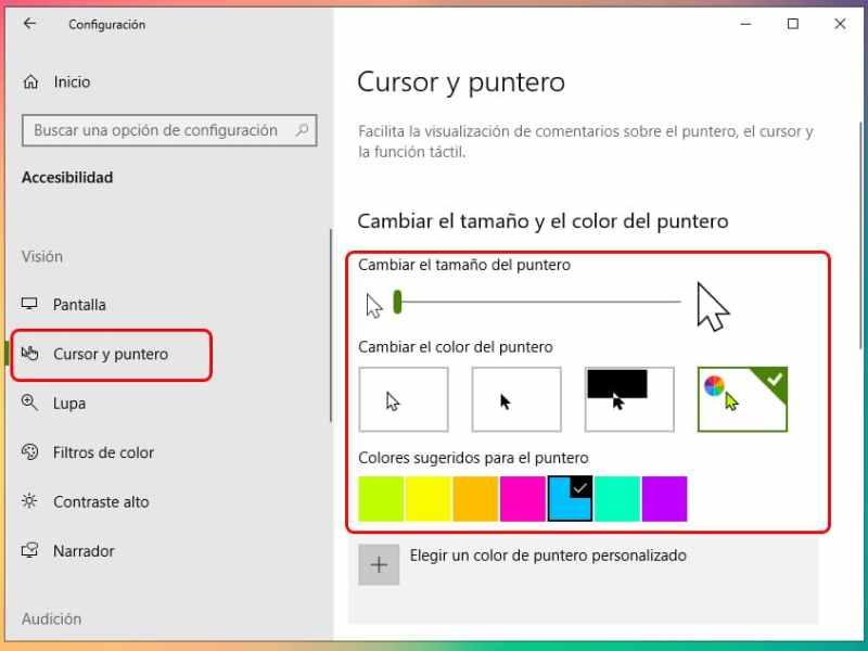 Cómo cambiar el puntero del mouse en Windows 10