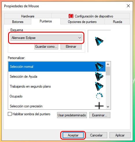 Cómo cambiar el puntero del mouse en Windows 10 5