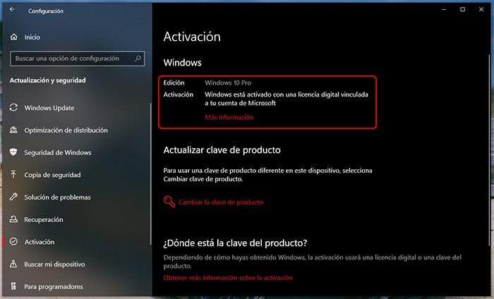 Windows 10 activado con licencia digital