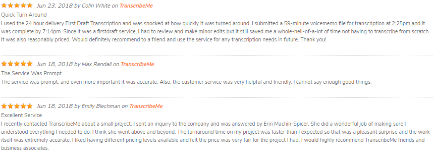 Reviews TranscribeMe