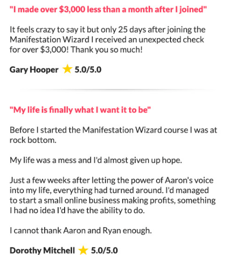 Manifestation Wizard customer reviews