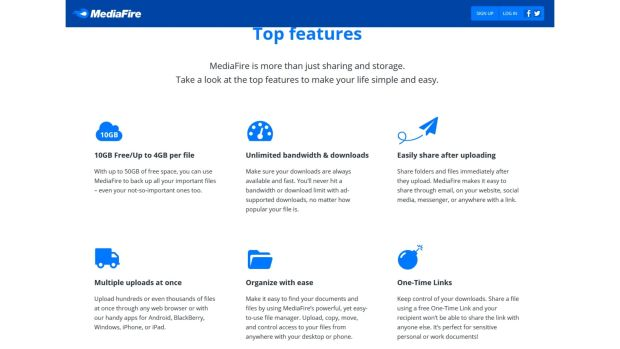 Mediafire features