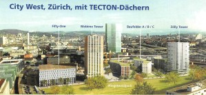 City West, Zürich, mit TECTON-Dächern