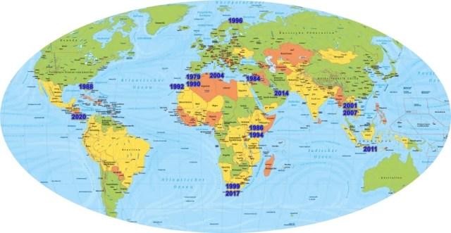 TECTON-Reise Weltkarte