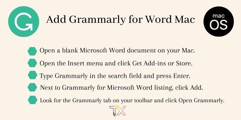 insert grammarly for word mac