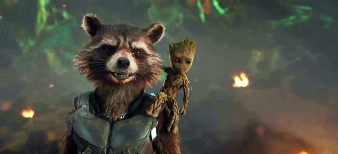 Rocket Raccoon and Baby Groot in Guardians of the Galaxy, Vol. 2