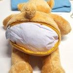 Teddy mit rückseitigen Veredelungszugang