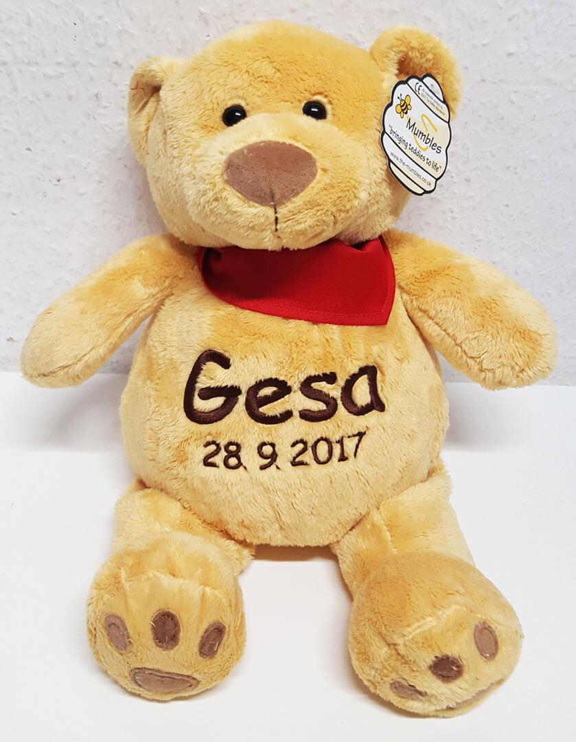 Teddy mit Name und Geburtsdatum