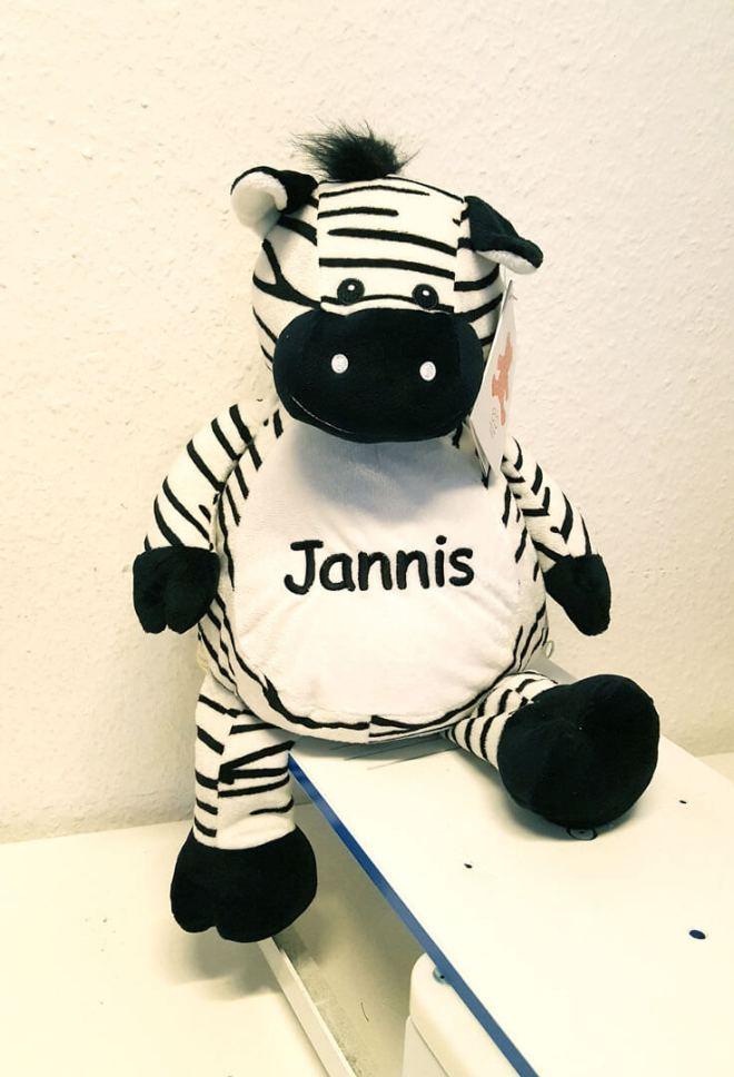 Plüschtier Zebra mit Namen