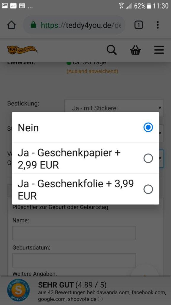 Plüschtier mit Namen per Smartphone bestellen - Auswahl Geschenkpapier