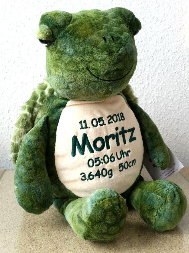Plüschtier Schildkröte mit Namen, Geburtsdatum, Uhrzeit, Gewicht und Größe