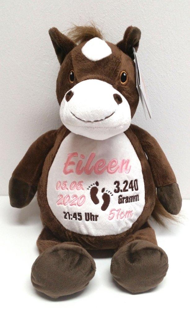 Plüschtier Pferd mit Namen und Geburtsdaten.