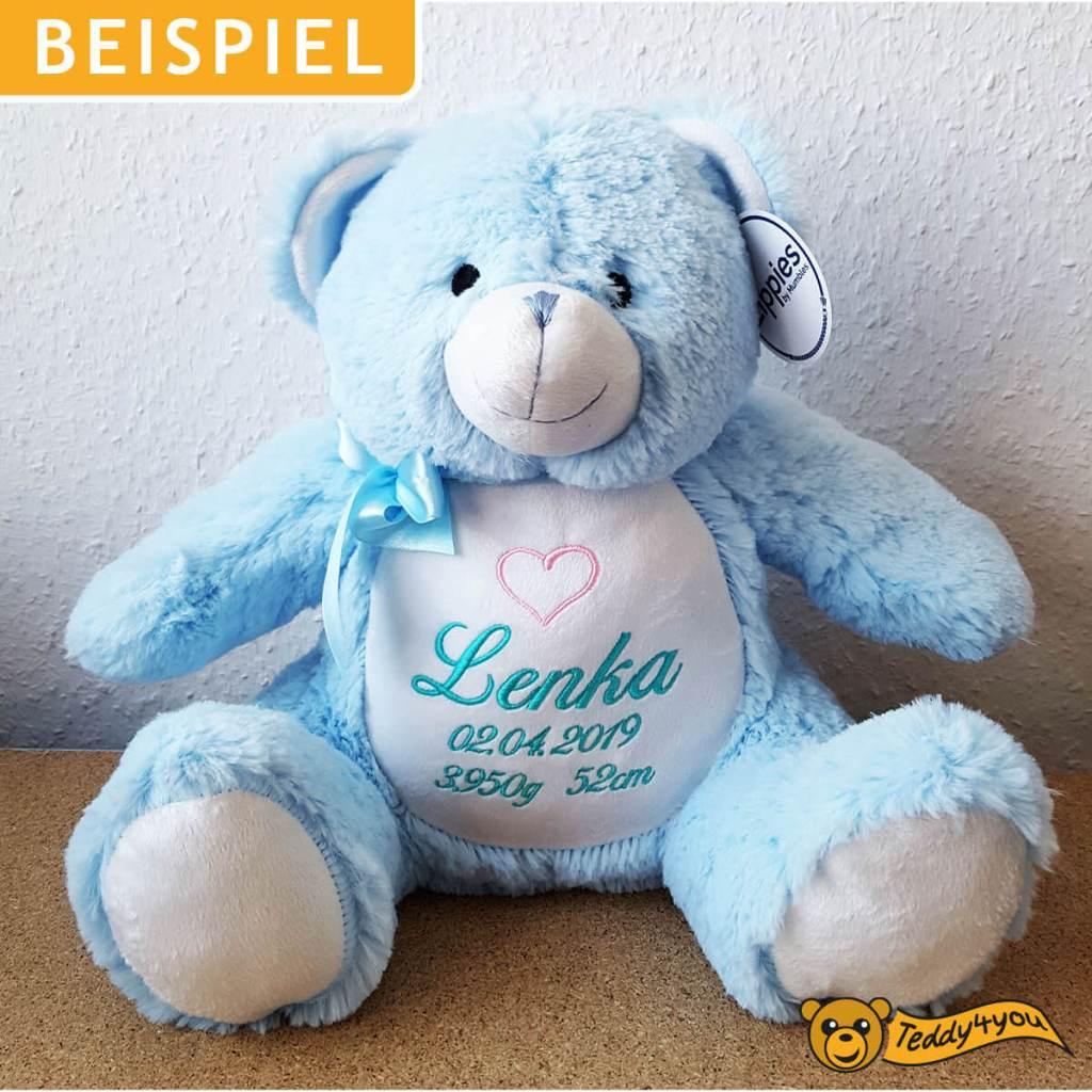 Blauer Teddy mit Namen und Herz bestickt