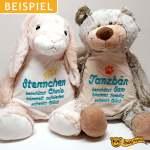 Plüschtier Hase und Teddy mit Namen und Text bestickt