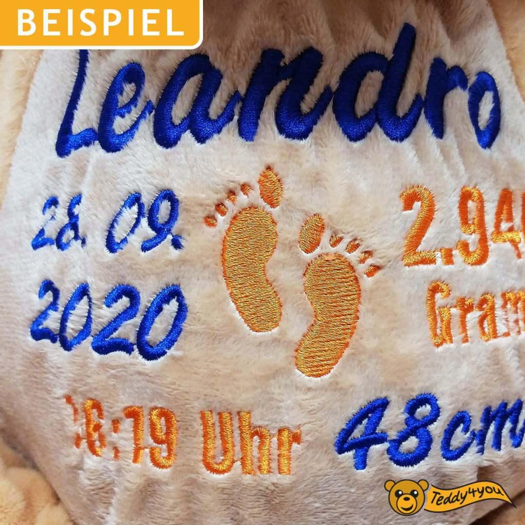 Plüschtier Löwe - Stickerei mit Namen und Geburtsdaten
