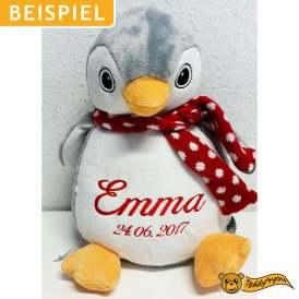 Plüschtier Pinguin mit Name und Geburtsdatum