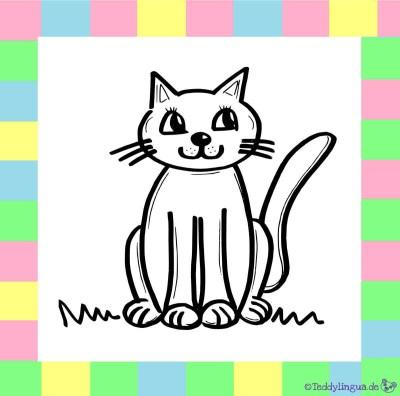 Katze zum Ausmalen auf weißem Hintergrund