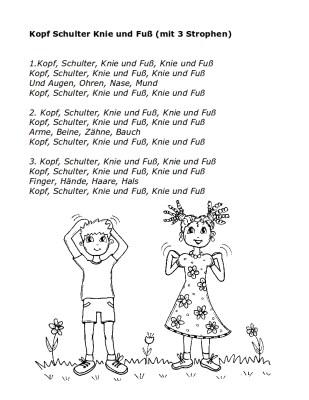 Text zum Lied: Kopf Schulter Knie und Fuß