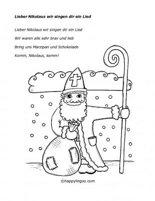 Text zum Lied: Lieber Nikolaus wir singen dir ein Lied
