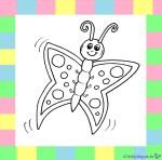 Schmetterling zum Ausmalen auf weißem Hintergrund