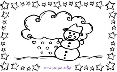 Schneemann, Wolke, Schnee zum Ausmalen
