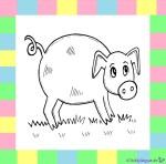 Schwein zum Ausmalen auf weißem Hintergrund
