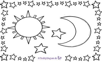 Sonne, Mond und Sterne zum Ausmalen