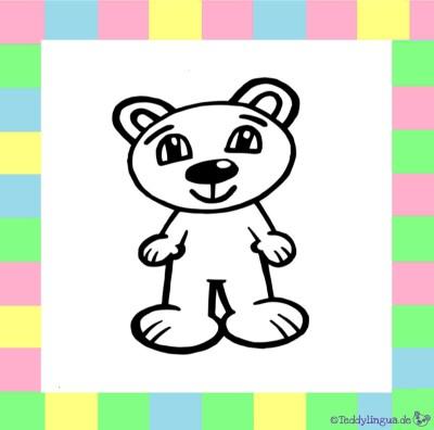 Teddylingua Bär zum Ausmalen auf weißem Hintergrund