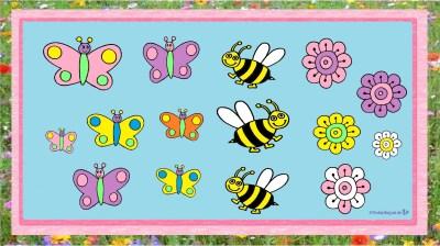 Schmetterlinge, Bienen, Blumen