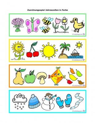 Zuordnungspiel Jahreszeiten in Farbe
