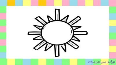 Sonne zum Ausmalen auf weißem Hintergrund