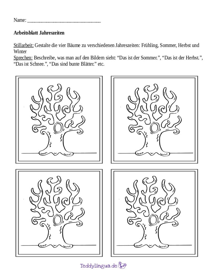 Beleuchtungszonen Und Jahreszeiten Arbeitsblatt : Monate teddylingua