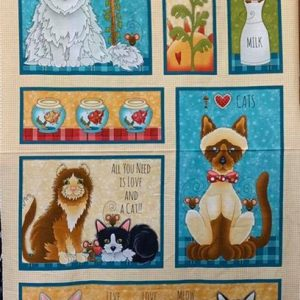 Quilt Panel Live Love Meow
