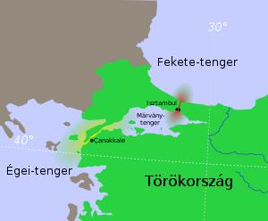 Sárgával jelölve a Gallipoli-félsziget (Forrás: Wikipédia)