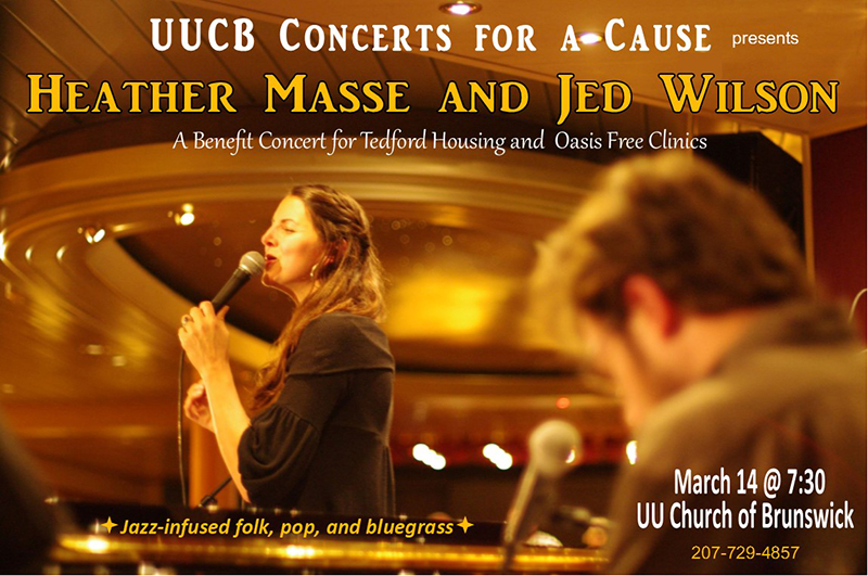 UUCB Concerts for a Cause Features Heather Masse and Jed Wilson on March 14, 2020