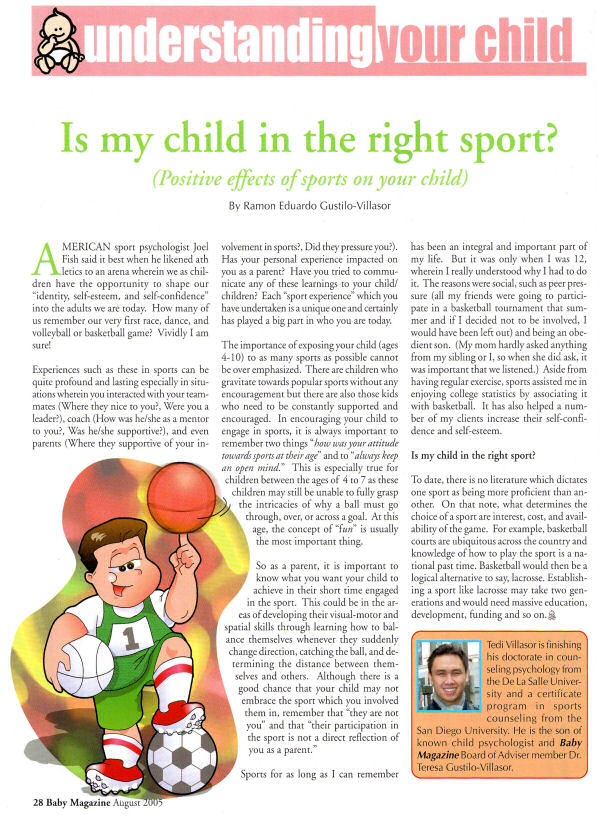August 2005 Article in Baby Magazine