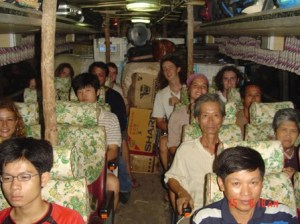 This was the most horrible 24 hour bus ride ever. Vientian to Hanoi, straight. Notice the bus's roof supported by timbers.