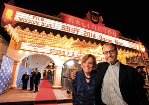Renowned Oceanographer Sylvia Earle and Director Fisher Stevens outside the Arlington Theatre before the nights festivities begin