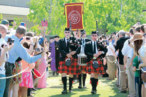 """Bagpipers lead professors and graduates onto the field Saturday morning for Westmont College""""s commencement. CARMEN SMYTH/NEWS-PRESS PHOTOS"""