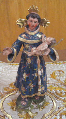 "This statue of St Anthony of Padua is about 24"" in height from the late 17th century, and made from wood, gesso and polychrome. This was the first statue to come to Mission Santa Barbara, arriving April 1, 1790."