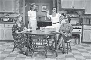 From left, Pheonix Vaughn as May Black, Wendy Peace as Alice Cohen, Corey Tazmania as Billie Friedhoff, and Natalie Mosco as Sophie Birnbaum). DAVID BAZEMORE PHOTOS