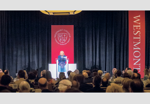 "Historian Doris Kearns Goodwin speaks about ""Leadership Lessons from American Presidents"" at Friday's 10th annual Westmont President's Breakfast. NIK BLASKOVICH/NEWS-PRESS"